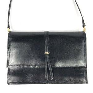 Vintage Swan Black Leather Crossbody Shoulder Bag